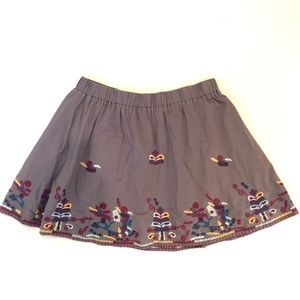 Embroidered Gray Cotton Fossil Skirt